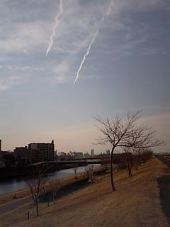 20090127荒川飛行機雲.JPG