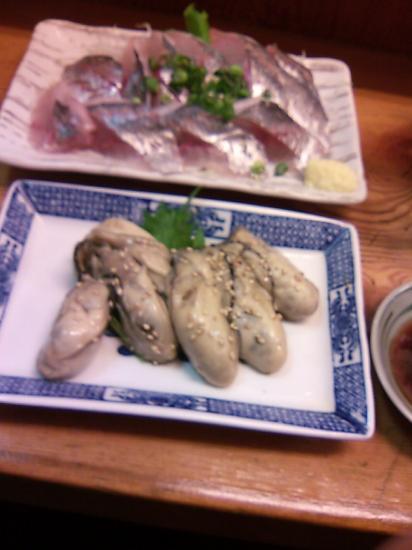 第三福ちゃんアジ刺、カキのゴマ漬け
