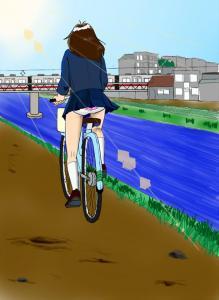 自転車の女子高生