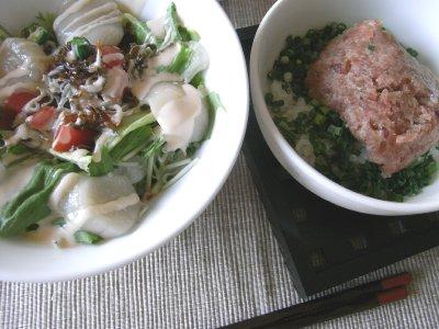 帆立サラダとネギトロ丼