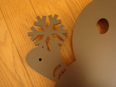 雪だるま+クローバー妻飾り
