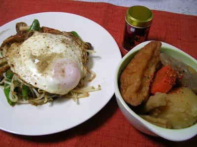 080222野菜炒め、おでん風煮物 001