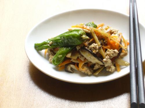 ひき肉と野菜の炒めもの花椒風味