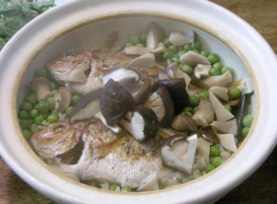 鯛とグリンピースとシイタケの炊込みご飯!2008.4.25
