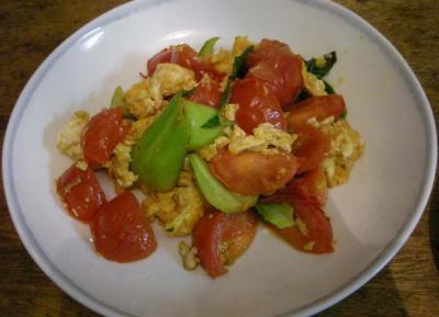 たまごとトマトとチンゲンサイの炒めもの 2008.1.7