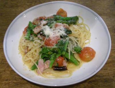 菜の花とフルーツトマトとベーコンのさっぱりスパゲッティ!2008.1.21