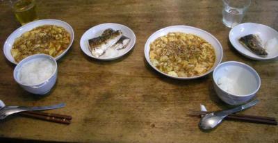 麻婆豆腐とサバの塩焼き。2008.1.30