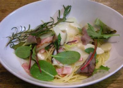 ローズマリーと白菜のパスタ!美味しい!2008.2.28