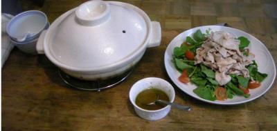 キノコの炊き込み土鍋ご飯と豚しゃぶのサラダ 2008.2.29
