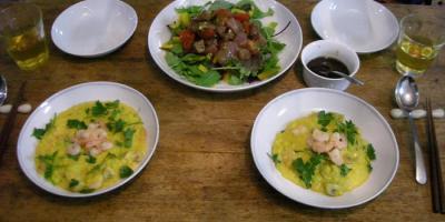 サフランとチーズの濃厚リゾットとマグロのカルパッチョサラダ 2008.3.1