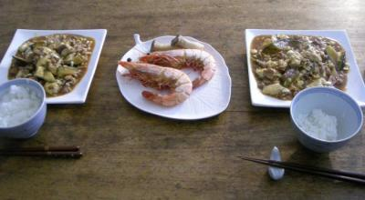 海老の塩焼きと麻婆豆腐!2008.3.21