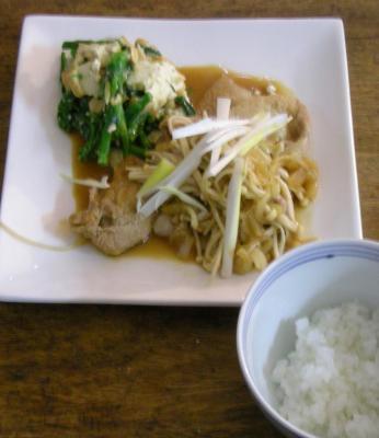 生姜焼き!と菜の花と厚揚げの胡麻和え!定食 2008.3.24