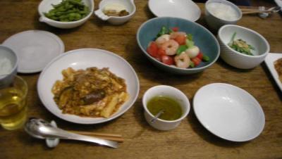 麻婆豆腐とカブとトマトのサラダと味噌和え 2008.4.3