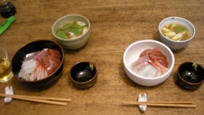 海鮮丼となめこのお味噌!2008.4.4