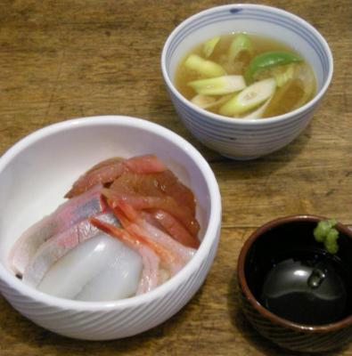 海鮮丼となめこのお味噌!!2008.4.4