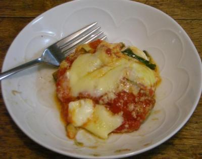 茄子とベーコンとバジルのトマトソースグラタン 熱! 2008.4.13