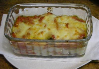 茄子とベーコンとバジルのトマトソースグラタン 2008.4.13