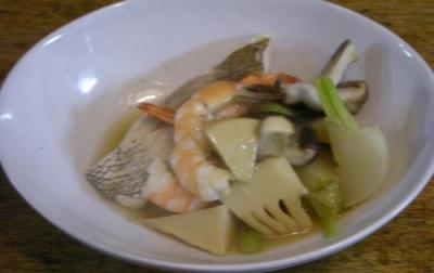 海老と鯛とタケノコとカブとしいたけの煮物 あんかけで!2008.4.14