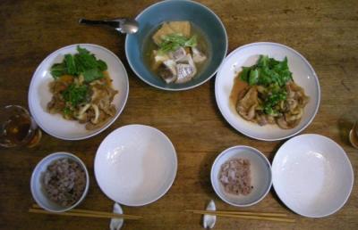 生姜焼き!と煮もの!と16穀米ごはん!2008.4.28