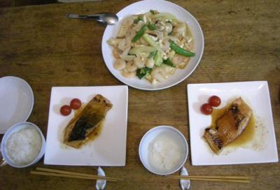 キングサーモンの照り焼きとたっぷり海老と野菜の中華炒め 2008.5.8