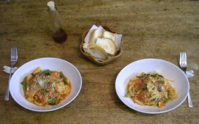 鱈といんげんとバジルのトマトソースのパスタ 2008.5.9