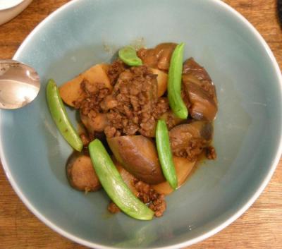 茄子とかぶと粗挽肉の味噌煮 2008.5.11