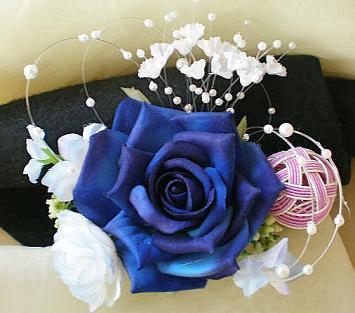 和装髪飾り・青バラ