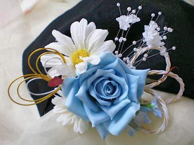 和装髪飾り水色バラ