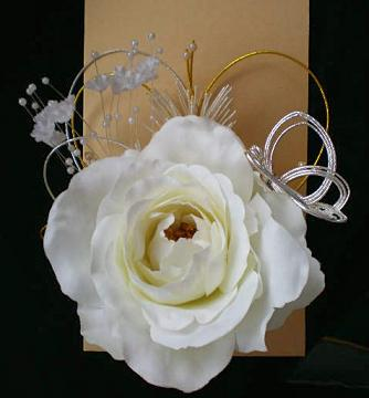 白バラの髪飾り