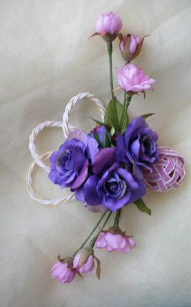 紫ミニバラの髪飾り