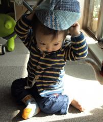 帽子をかぶる1