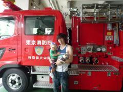 消防車とパチリ