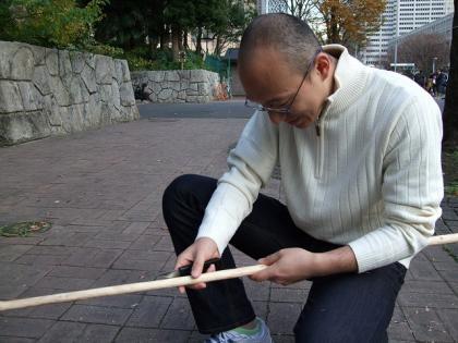 ビリバを削る佐藤さん