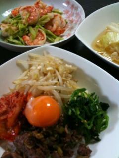 ビビンバ・アスパラとえびの炒め物・キャベツのスープ