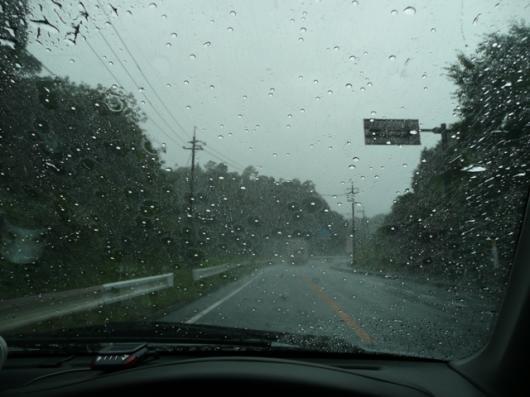 強まる雨足