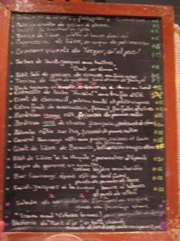 Chez Michel 20081106menu