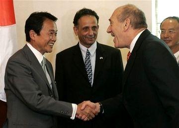 外交タロー:20070814イスラエルのオルメルト首相と1