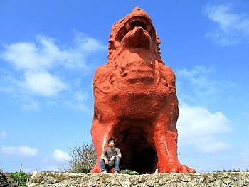 残波岬にある巨大シーサー