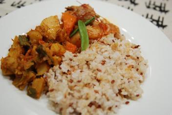 オクラとじゃがいもインド、韓国肉じゃが、オリジナル米