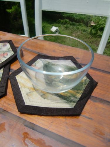 古布コースターガラス