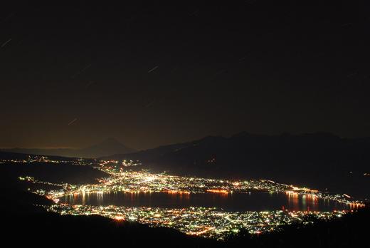 高ボッチ山 -星と諏訪市の夜景-