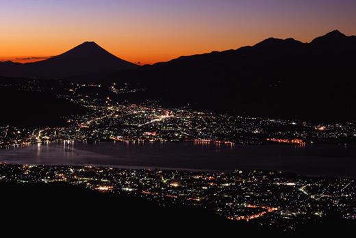 高ボッチ山 -諏訪湖と富士山-