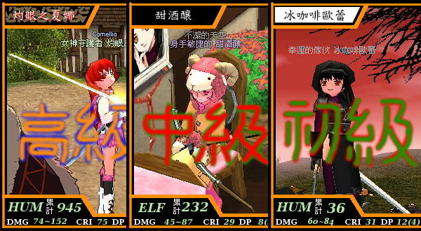 3個主要跑的角色