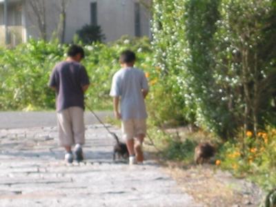 旅行中仲良く散歩