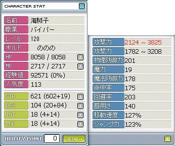 格闘レベル120ステータス