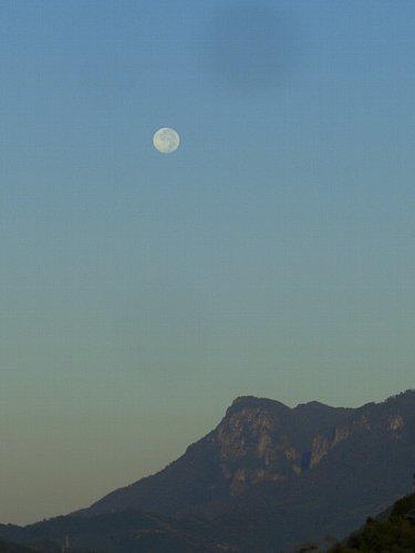 行縢山にかかる朝の月。
