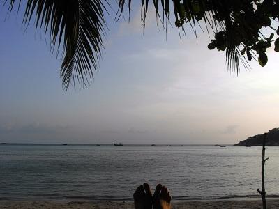 タオ島最終日夕日と足