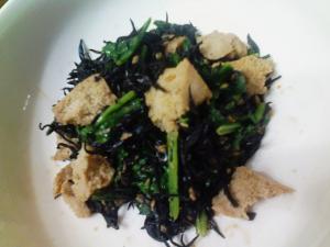小松菜ひじきと高野の味噌和え
