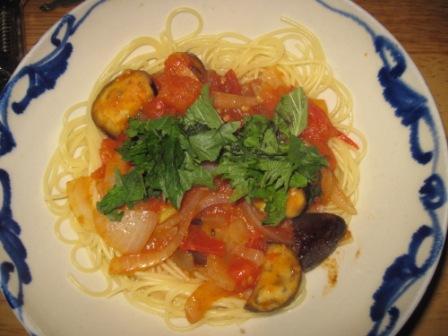 トマトとナスのスパゲティ