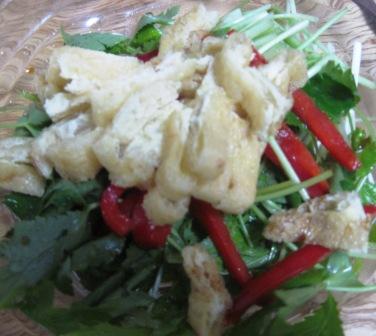 カリカリ油揚げと水菜のサラダ